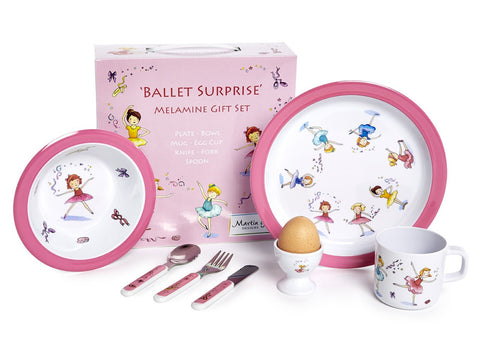 CHILDREN'S 7 PIECE MELAMINE SET - Ballet Surprise-Martin Gulliver Designs