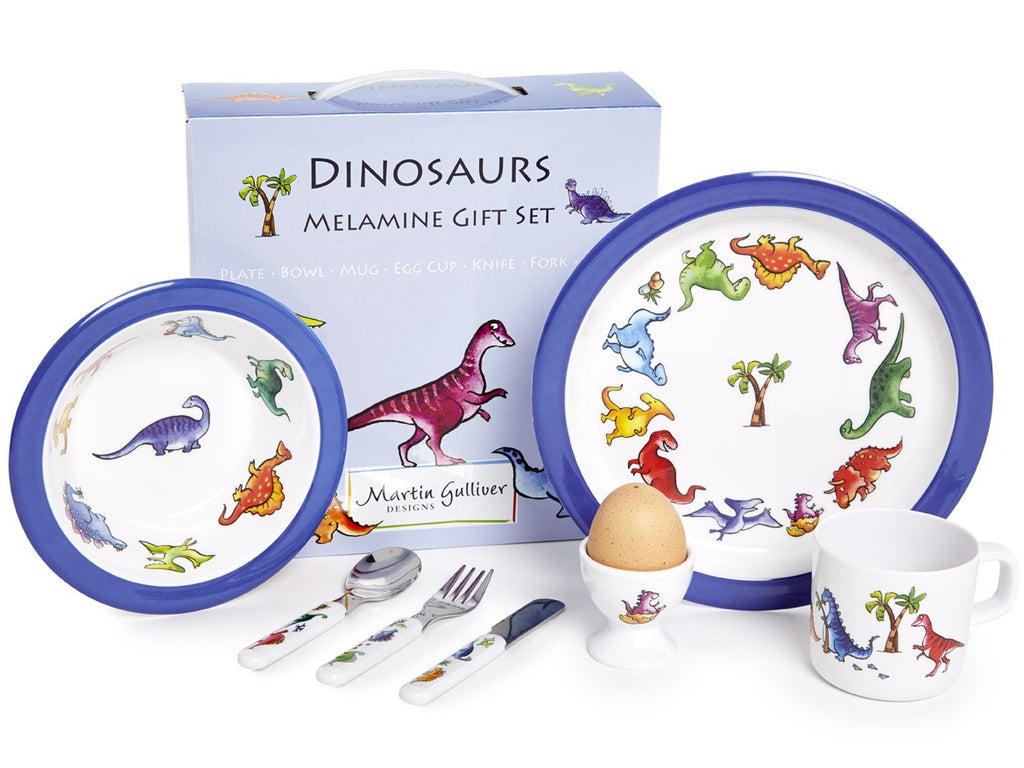 CHILDREN'S 7 PIECE MELAMINE SET - Dinosaurs - Louie's Gift Shop