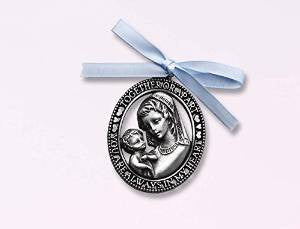 Crib Medal -with Blue Ribbon /boy cbc - Louie's Gift Shop