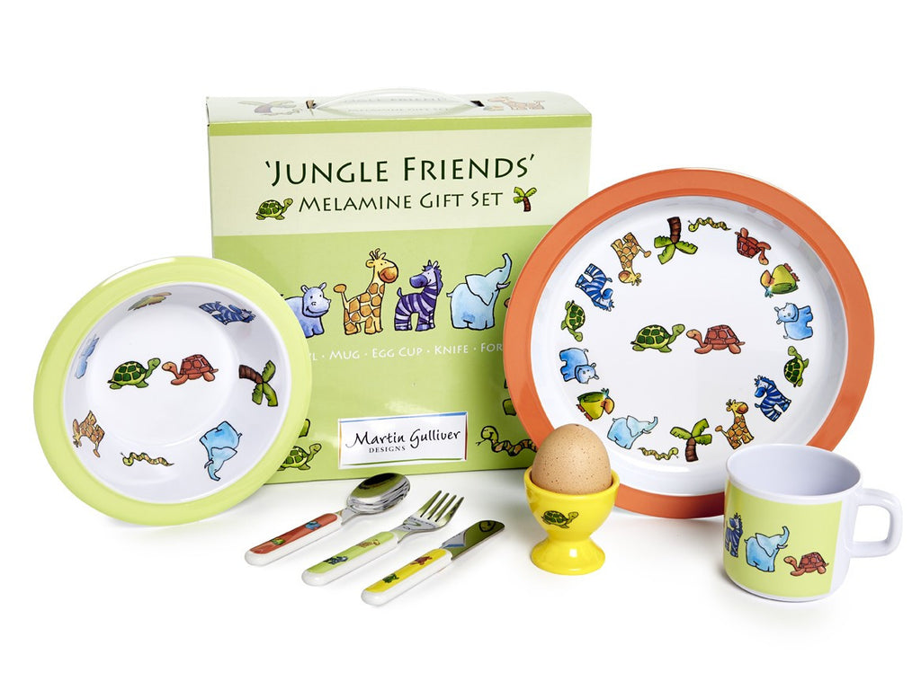 CHILDREN'S 7 PIECE MELAMINE SET - Jungle Friends - Louie's Gift Shop