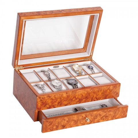 Peyton Wooden Watch Box in Burlwood Oak Finish -681US -Mele & CO