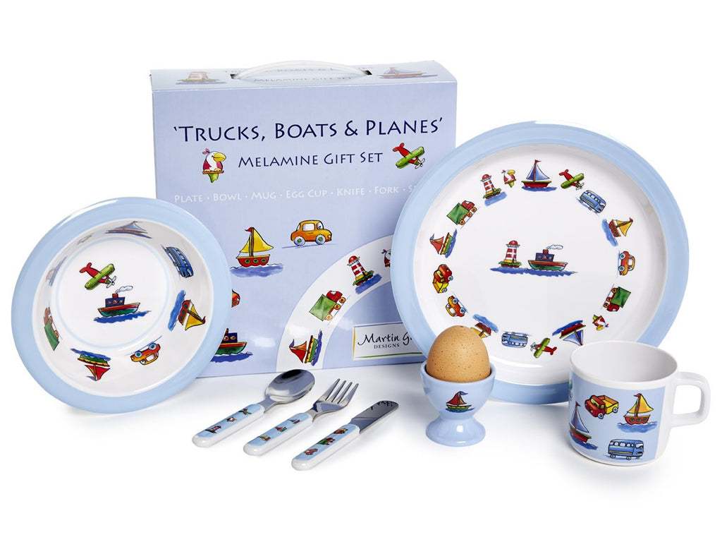 CHILDREN'S 7 PIECE MELAMINE SET - Trucks, Boats & Planes - Louie's Gift Shop