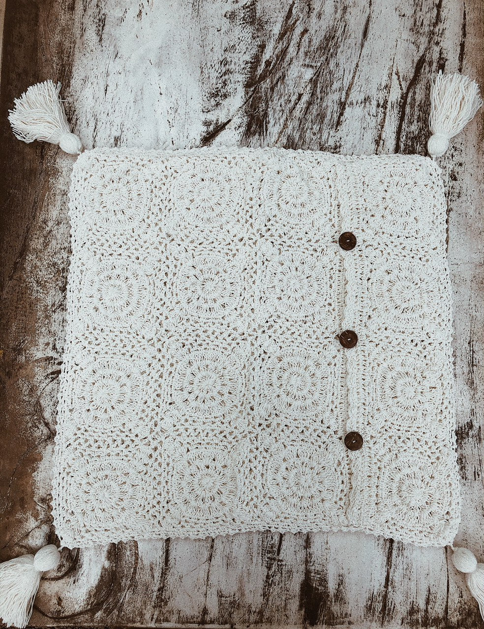 Federa copri cuscino - crochet panna - Wanderlust Factory ● Mobile Fashion Boutique