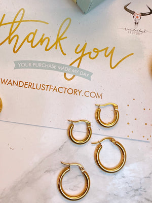 Orecchini Hoops Smooth 15 mm - Wanderlust Factory® ☽ Mobile Fashion Boutique