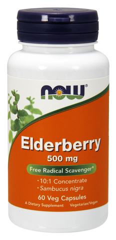 Now Foods Elderberry 500Mg 60 Veggie Capsules, CLAIRESSUPPLEMENTS - CLAIRESSUPPLEMENTS