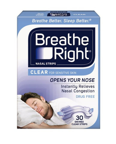 Breathe Right Nasal Strips Clear For Sensitive Skin Large 30 Strips