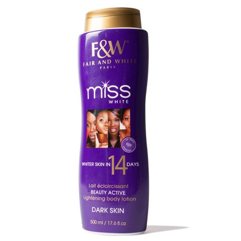 Fair & White Miss White Lightening Beauty Lotion Dark Skin 17.6 oz.