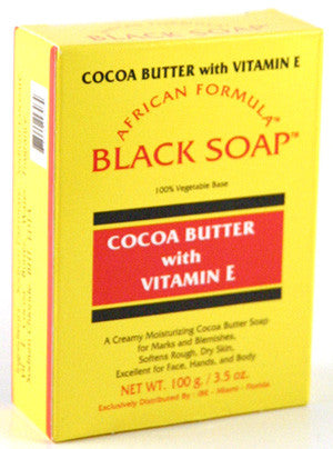 African Formula Black Soap Cocoa Butter with Vitamin E Net Wt. 3.5 Oz.