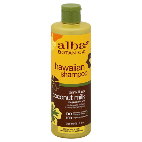 Alba Botanica Hawaiian Shampoo Drink It Up Coconut Milk 12 oz