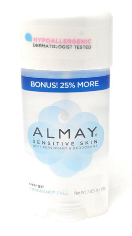 Almay Sensitive Skin Clear Gel Antiperspirant Deodorant Fragrance Free 2.82 oz