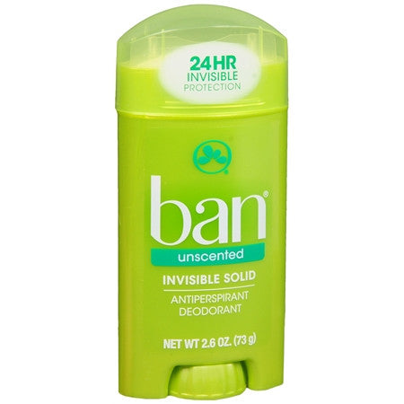 Ban Invisible Solid Antiperspirant Deodorant Unscented 2.6 oz
