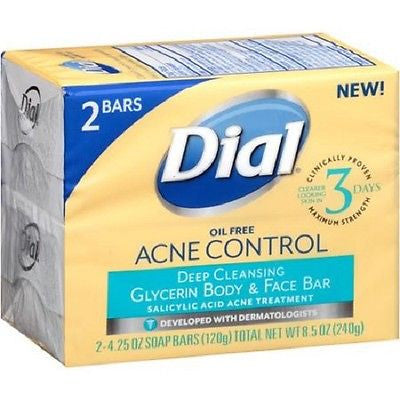 Dial Oil Free Acne Control Deep Cleansing Glycerin Body & Face Bar 2 - 4.25 oz