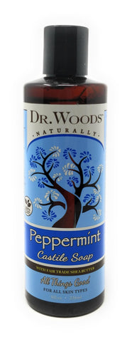 Dr. Woods Naturally Peppermint Castile Soap With Fair Trade Shea Butter 8 oz