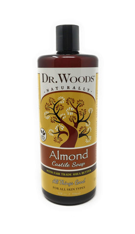 Dr. Woods Naturally Raw Almond Castile Soap With Fair Trade Shea Butter 32 oz
