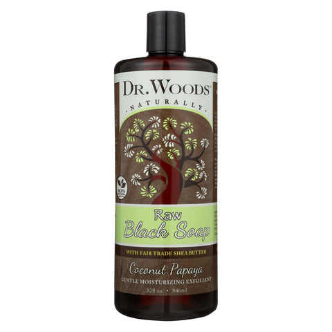 Dr. Woods Naturally Raw Black Soap Coconut Papaya 32 oz