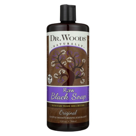 Dr. Woods Naturally Raw Black Soap with Fair Trade Shea Butter 32 oz
