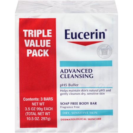 Eucerin Advanced Cleansing Soap Free Body Bar 3.5 oz 3-Pack