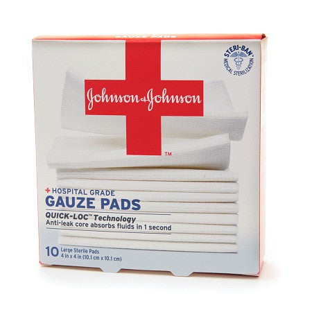 Johnson & Johnson Hospital Grade Gauze Pads 4 in x 4 in, 10 Pads