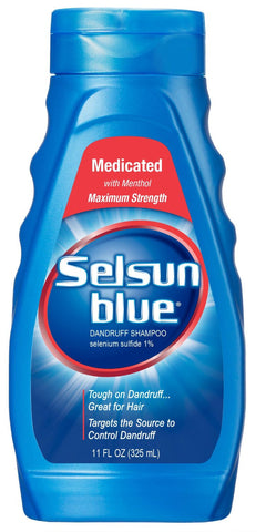 Selsun Blue Dandruff Shampoo Medicated with Menthol Maximum Strength 11 oz