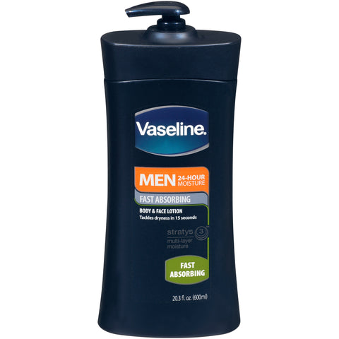 Vaseline Men 24 Hour Moisture Body & Face Lotion 20.3 oz