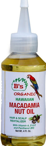 B's Organic Hawaiian Macadamia Nut Oil 4 oz.