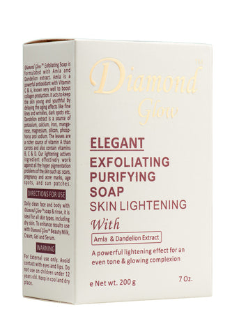 Diamond Glow Elegant Exfoliating Purifying Soap Skin Lightening 7 oz.