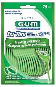 GUM Eez-Thru Angled Flossers Just Brushed Mint 75 ea.