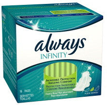 Always Infinity Heavy Flow Flexi Wings 16 Pads