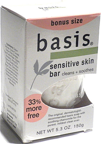 Basis Sensitive Skin Bar Soap 5.3 oz. Bonus Size