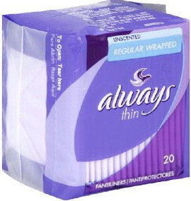 Always Thin Regular Unscented Pantiliners 20 ct.