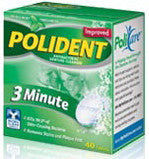 Polident 3 Minute Antibacterial Denture Cleanser Triple Mint Freshness 40 Tablets
