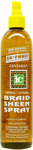 Fantasia IC Herbal/Vitamin Braid Sheen Spray Bonus Size 12 Fl. Oz. (355 ml)
