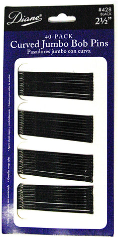 "Diane Curved Jumbo Bob Pins Black 2 1/2"", 40-Pack"