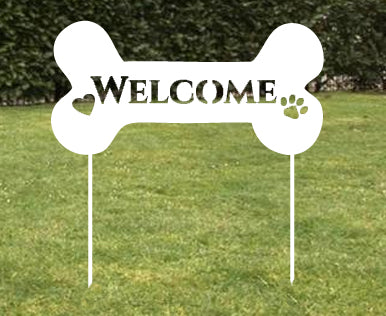 Doggie Bone Welcome Sign, Wall, Hanging, Dog, Memorial, Pet, Grave, Marker, Garden Stake, Custom, Metal, Dog, Rusty, White, Art, lawn, Ornament, Metal, Yard