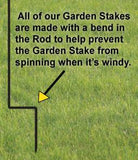 courtesy bends on lawn stakes prevent movement and spinning