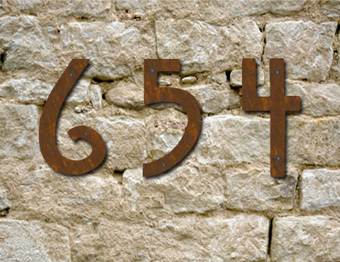 Rustic Mission Style House Numbers or Letters (Set of 2) / 2 Inch up to 8 Inch / Initials / Metal / Wall Hanging / Address / Pins / Office