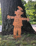 Scarecrow Garden Stake | Metal | Large, | Yard | Lawn | Ornament | Rust | Autumn | Fall | Art | Decoration | Giant | Outdoor | Rustic