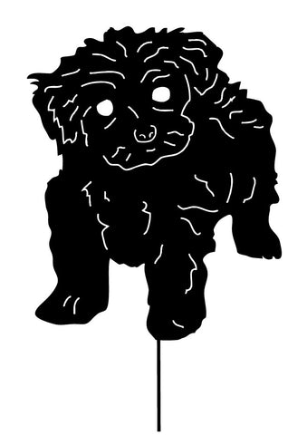 black teacup poodle lawn art