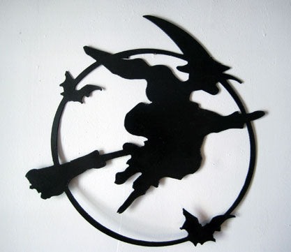 Scary Flying Witch Wall Hanging / Halloween / Metal