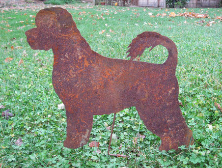 Rusty Portuguese Water Dog Garden Stake