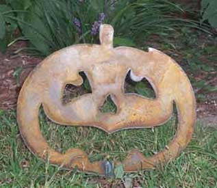 Pumpkin Jack o Lantern Garden Stake or Wall Art (Option) Halloween | Rustic | Metal