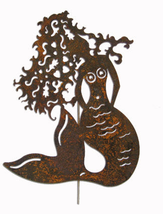 Rustic Mermaid Garden Stake