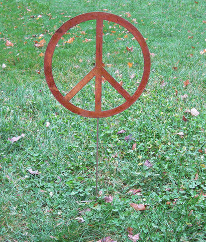 Rustic Peace Sign Garden Stake
