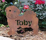rusty dog cutout with name in body sample