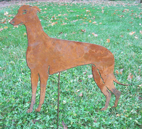 Rusty Greyhound Lawn Art