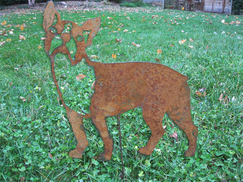 Rusty Boston Terrier Garden Stake