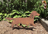 Long Haired Dachshund Garden Stake