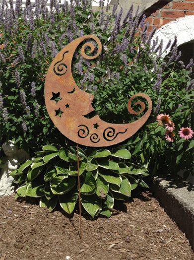 Moon garden stake wall hanging garden art decor metal for Outdoor hanging ornaments