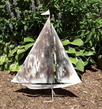 White Wash Sailboat Garden Stake