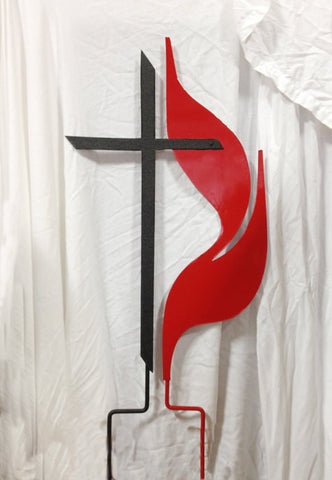 Methodist Cross and Flame Garden Stake